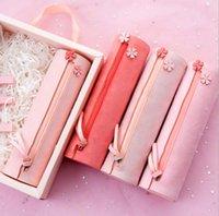 2PCS / الكثير الرجعية اللوازم المدرسية أسطواني حالة من رصاص الوردي جديدة فتاة بسيطة قلم رصاص مستطيلة حالة إزهار الكرز سلسلة بالجملة