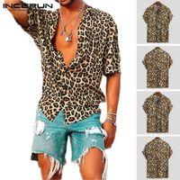 여름 짧은 소매 표범 인쇄 셔츠 남성 옷깃 목 느슨한 버튼 업 블라우스 통기성 스트리트 섹시한 셔츠 남성