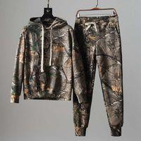 Männliche mit Kapuze Brushed Tarnung Sweatsuit Uniform Anzug Frühjahr Herbst New Sport 2 Stück Hoodies + Jogginghose Cargo-Anzug