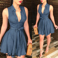 Frauen Sleeveless Denim Deep V Neck Kleid Frauen Sommer Mini Blue Kleid Belted Party Short Mini Kleid Sommer Kleidung SH190805