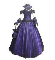 Черно-фиолетовый кружевной готические свадебные платья 2020 Элегантное дворовое поезда на шнуровке назад Длинные свадебные платья Аппликации сатин кельтские свадьбы