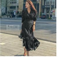 ثلاثة أرباع عالية الأكمام الخامس الرقبة مثير الخصر تصميم جديد المرأة الشاش الدانتيل والتطريز الأزهار الخصر النحيف حورية البحر ماكسي فستان طويل vestidos