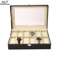 Leather 12 Slots Wrist Watch Display Box Storage Holder Orga...