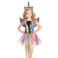 Costume Unicorn vestiti vestiti dalle ragazze di paillettes bambini arcobaleno principessa capretti del vestito del progettista ragazze si vestono le ali di angelo + + fascia A7294 vendita al dettaglio