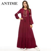 ANTIME Yeni Yüksek Bel Elbise Sonbahar Kış O-Boyun Rahat Kadınlar Püskül Nakış A-Line Uzun Kollu Zarif Maxi Şarap Kırmızı Elbise