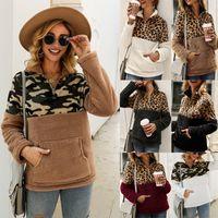 Femmes Leopard Patchwork Pull d'hiver à manches longues Zipper Sherpa Sweat Polaire Outwear avec poches Tops manteau à capuche, plus des vêtements de taille