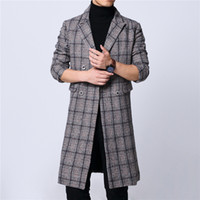 Plus Size 6XL Mens Plaid Gray Long Coat Double Breast Full L...