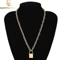 Collier pendentif serrure Steampunk collier de haute qualité amant pour les femmes en argent doré chaîne cadeau de la Saint-Valentin 2019