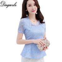Dingaozlz Yeni 2018 Artı Boyutu Kadın Bluzlar Moda Ruffles Çiçek Dantel Üstleri Zarif Bayanlar Dantel Bluz Gömlek Y19062501 Oymak
