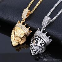 Moda Golden Lion Head Crown King colgantes collares mujeres de los hombres de Hip Hop al por mayor colgantes de acero inoxidable
