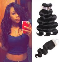 Ishow Body Wave Bundlar Virgin Hair Extensions med 4x4 Lace Stäng Billiga Bra Kvalitet Human Hair Weave För Kvinnor Alla Ages Naturliga Svart 8-28indh