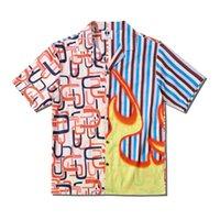 Alev Çizgili Patchwork Vintage Gömlek Sokak Moda Erkek Gömlek Yaz Hawaii Gömlek S-XL