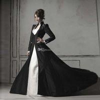 Feito sob encomenda feita de manga comprida capa de chão moda mulheres 2020 preto cetim casaco de casamento longo casaco de casamento