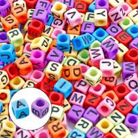 Kimter acrílico letra alfabeto cubo bead jóias fazendo miçangas soltas diy handicrafts para colar pulseira livre DHL N54Y F