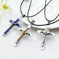 الصليب القلائد يسوع المسيح الصليب قلادة الصليب الكاثوليكية مع الجلود سلسلة قلادة الصليب قلادة قلادة جميلة