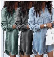 New Arrival. Fashion Women Loose Denim Shirts Dress Long Sleeve Casual ... 5d32c2f33