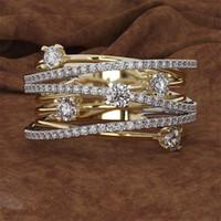 14K 3 Renkler Kadınlar Topaz 1 karat Taş Bizuteria Anillos Sliver Takı Nişan elmas yüzüğü kutusu LY191217 Altın Elmas Yüzük