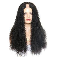 Kinky Kıvırcık U Bölüm Peruk 2 * 4 Orta Yan Bölüm Kadınlar için 180% İnsan Saç Peruk Brezilyalı Remy Saç Peruk