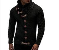 los hombres suéter de los hombres de cuello alto color sólido suéter manga larga botón de otoño invierno Escudo Waim ajuste delgado del cuello alto de punto Cardigan
