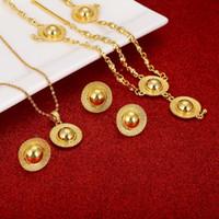 Joyas de Etiopía Conjuntos de oro Color Oro HABESHA Collares Collares Pendientes Anillo Brazaletes Regalos de Boda Africana Eritrea