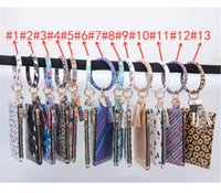 패션 PU 팔찌 열쇠 고리 지갑 개의 Tassels 키 체인 펜던트 가죽 클러치 백 인쇄 키 버클 지갑 휴대용 파우치
