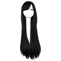 긴 직선 코스프레의 가발 블랙 퍼플 핑크 블루 은색 회색 금발 화이트 오렌지 브라운 (80) 형상 합성 머리 가발
