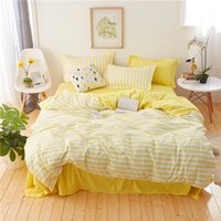 Simple Stripes Bedding Set White And yellow Duvet Cover Set ...