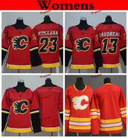 Calgary Flames für Frauen 2019 13 Johnny Gaudreau 23 Sean Monahan Eishockeytrikots Heimteam Rot Günstige Damen Kinder Mädchen Jungen Genähte Hemden