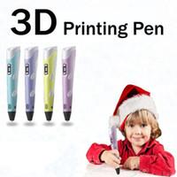 طابعة 3D رسم القلم DIY 3D القلم ABS / PLA فنون 3D الطباعة القلم LCD هدية التعليمية للأطفال تصميم لوحة رسم 4 لون