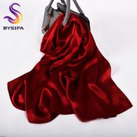 [BYSIFA] Wine seda pura seda vermelho do xaile do lenço da forma das mulheres Crepe cetim lenços longa das senhoras marca Head Scarf Cabo
