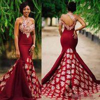 2019 Charming Mermaid Burgund Prom Abendkleider mit Spitze Applique High Neck Afrikanischen Hofzug Frauen Formale Party Kleider