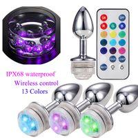 Attraktive Fernsteuerungs-LED Farbe ändern Metall Anal Plug Edelstahl Bunte Hintern Anus Booty Beads ProstataMassager erwachsenes Geschlechts-Spielzeug