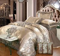 Gold silver coffee jacquard luxury bedding set queen king si...