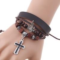 Женщины мужчины бесконечность любовь Иисус крест многослойная коса сплетенная веревка кнопка браслет манжеты браслет пара ювелирных изделий или девушки подростки Дружба подарок