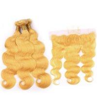 Gelbe Körperwelle Remy Menschliches Haar webt Weft 3 Bündel mit 13x4 Spitze Frontalverschluss Freies Verschiffen