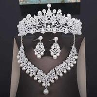 Pieza de cabeza nupcial de la corona de boda de alta calidad Pearl Tiara Joyería de las mujeres Accesorios para el cabello Conjunto de la cabeza de plata Pagina grande CRONDA CAÑO CJ191226