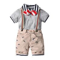 Meninos Crianças Listrado Collar T-shirt + Bib Calças Verão Polo Tops + Shorts Respirável Sets Kids Boys Designer Roupas