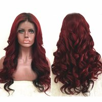 Two Tone Ombre Burgundy Full Lace Human Hair Wigs T1b 99j Pe...