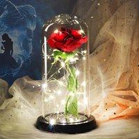 아름다움과 야수 영원한 꽃이 플라스크 웨딩 장식에 로즈 발렌타인 선물 유리 커버에 인공 꽃