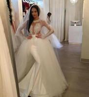 Porcellana Nuovo abito da sposa sexy su misura con le maniche Abito da sposa rimovibile rimovibile della sirena del raso francese delle maniche