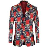 León impresión Blazer Hombres 2020 Ropa de la marca Mantón traje de cuello casual trajes de chaqueta para hombre del Escenario populares chaquetas casuales