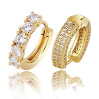 18K real Ouro Ouro Branco completa Cubic Zirconia para fora congelado diamante Unisex Argola Marca Moda Rapper presentes de aniversário da jóia para mulheres dos homens