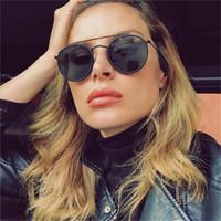 Double pont lunettes de soleil rondes unisexe lentille plate Noir Lunettes de soleil luxe 2019 Trendy Circle petites lunettes de soleil Femmes Hommes uv400