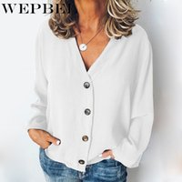 WEPBEL Summer Women Blouse Casual Button Long Sleeve Chiffon...