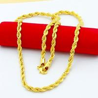 Collar de cadena de cuerda de acero inoxidable chapado en oro real de 18K para hombres, cadenas de oro, regalo de joyería de moda HJ259