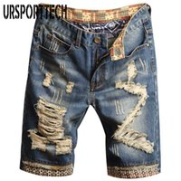 URSPORTTECH Mens Denim Shorts buracos, pintura Personalidade Denim Pants Moda magro Simples Cotton Masculino confortável Destruído Jeans