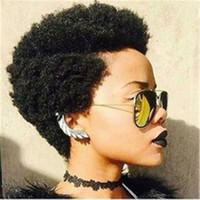 Haute qualité mongole vierge de cheveux humains afro crépus cheveux bouclés avant de lacet perruque complète Aucune perruque de dentelle régulière abordable machine faite perruque