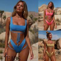 Moda Feminina Push-up Acolchoado Sutiã Bandage Bikini Set Two Piece Tankini Swimsuit