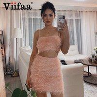 Viifaa розовые волосатые сопоставительные комплекты урожая вершины и юбка нечеткие тощие две части набор вечеринка одежда женщины лето сексуальные 2 кусок наряды