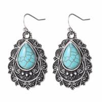 Retro gioielli etnici stile placcati argento antico di goccia dell'acqua Turchese Dichiarazione regalo delle donne orecchini creativo Orecchini Per